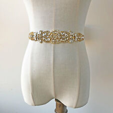 Diamante Wedding Accessories Trim Gold Bridal Dress Applique Beaded Belt Motif