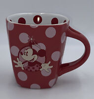 Disney Parks Minnie Mouse Coffee Mug Cup Polka Dot Red Pink
