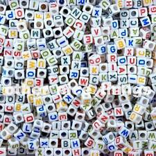 500x Alphabet Letter Beads 6mm Acrylic Colored Cube 83g **UK SELLER**