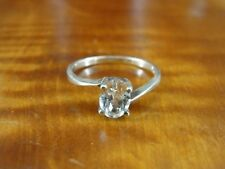 Sterling Silver 925 Ring Size 7 Cubic Zirconia oval Stone Solitaire Band
