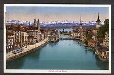 Ansichtskarte Zürich und die Alpen