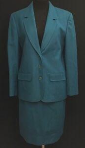 Womens Pendleton Vintage Peacock Blue Virgin Wool Blazer and Skirt Suit Size 8