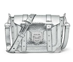 NWT Michael Kors Manhattan Small Crackled Metallic Leather messenger Bag~ Silver