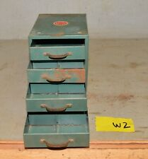 Vintage industrial small metal four drawer parts cabinet Wards Master Quality W2