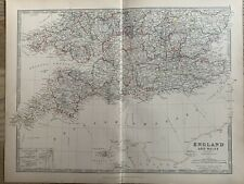 1886 SOUTH ENGLAND & WALES ORIGINAL ANTIQUE HAND COLOURED MAP BY JOHNSTON