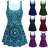 Women Lady Boho Print Ruched Sleeveless Summer Vest Swing Dress Tops Plus LIU9