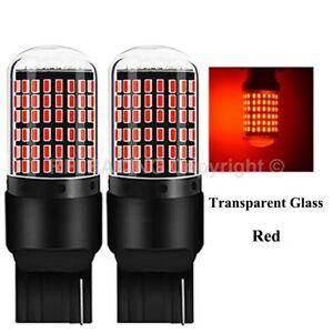 Ampoules T20 LED W21W 144 SMD Canbus Rouge pour feux stop freins 7440