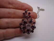 PURPLE AND PINK SNOW FLAKE FLOWER NECKLACE SILVER TONE METAL PARTY PROM FESTIVAL