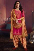 FuschiaPink-Grey CottonSilk Foil Print /& Embrd Trouser Suit-Banarasi Silk Dupata