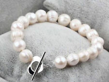 9-10MM white baroque freshwater cultured pearl bracelet 7.5-8""