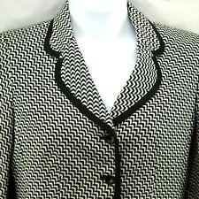 Women's Blazer Jacket Size 8 Le Suit Black White Chevron Lined