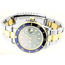 Rolex Submariner 40mm Watch 18k Yellow Gold & Stainless Blue Bezel 116613LB