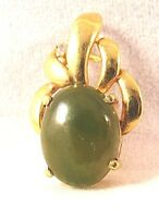 18K Gold JADE cabochon with Diamond Vintage Pendant Yellow 2gr Magnificent!!