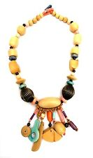 Statement Necklace Large Carved Wood Earrings Pierced Jewelry Handmade  Natural