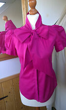 French Connection pussy bow pink short sleeve shirt size 8