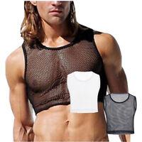 Mens Fishnet Mesh Bodybuilding Stringer Tank Top Shirt Sports Fitness Vest Top