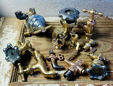 LARGE Vintage Brass Valve Lot Pressure Gauge Antique STEAMPUNK Industrial Parts