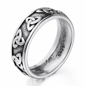Mens Womens Spinner Band 925 Sterling Silver Celtic Triquetra Trinity Knot Ring