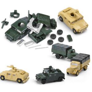 1/72 Scale 8pcs Set Assembly US Army Trucks Cars Model Military World War Toys