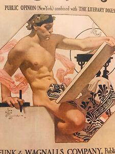 1908 Literary Digest Magazine COVER JC Leyendecker Scribe Nude Male Gay Interest