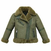 Kids Boys Winter Outerwear Leather Jackets Coat Biker Fleece fur collar snowsuit