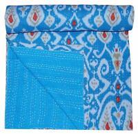 Indian Handmade Vintage Kantha Quilt Flat Sheet Bed Cover Bedspread Throw