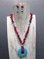 """16"""" Coral Chip Necklace with Turquoise Donut Pendant Free Earrings Handmade"""