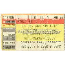 Dave Matthews Band & Ben Harper Concert Ticket Stub Detroit 7/5/00 Comerica