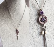 PENDANT NECKLACE BIJOUX Silver Tone Vintage Style With Pink Diamante Pearl Style