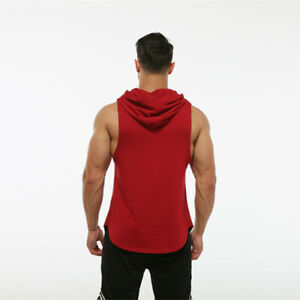 Men Gym Bodybuilding stringer Sleeveless tank tops Hoodies Muscle Vest singlets