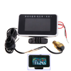 LCD Car Voltage Meter Water Temp Thermo Gauge 12/24V Beep Alarm 10mm Sensor Plug