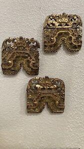Antique Chinese Archetectual Ruins Ornaments Laquerware 3 Pieces