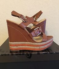 """Luxury Rebel """"Nelly"""" Wedge Sandal Sz 9 40M Brown / Natural Leather Upper GUC"""