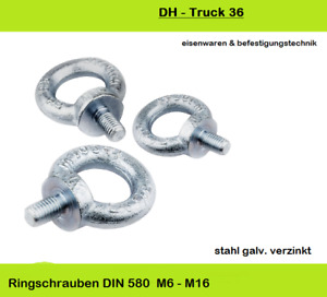Ringschrauben DIN 580    C15 E verzinkt      M6-M16    Augenschraube