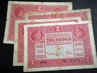 AUSTRIA - HUNGARY BANKNOTE 2 KRONEN 1917 DEUTSCHOSTERREICH WIEN