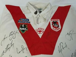 St George-Illawarra Dragons NRL Signed Jersey Authentic RARE Telstra Logo