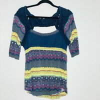 Free People Womens Blouse Multicolor Floral Short Sleeve Square Neck Cut Out L