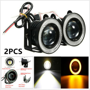 "3"" 12V LED Projector Fog Light Round Amber Angel Eye Halo Car Motorcycle 3200Lm"