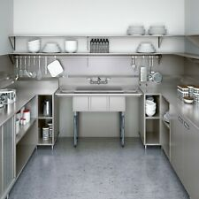 """3 Compartment Stainless Steel Commercial Kitchen NSF Sink with 2 Drainboards 54"""""""