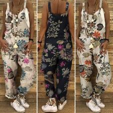 Женский ретро цветочный Дунгари комбинезон комбинезон комбинезон нагрудник брюки США