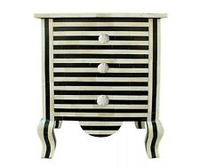 Indian Handmade Bone Inlay 3 Drawer Bedside Table Black And White Zebra Design