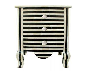 Indian Handmade Bone Inlay 3 Drawer Bedside Table Black And White Zebra Design