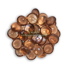 50 Apricot Glass Round Pebbles Nuggets Stones Beads for Crafts or Garden