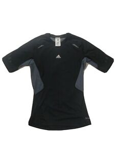 Adidas Tech Fit Compression Shirt Mens Large Black With Gray Short Sleeve