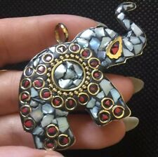 LARGE Gold Brass Nepal Pendant Jewellery Ethnic Tibetan Elephant Red Coral Shell