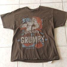 """Disney Grumpy Dwarf T Shirt XL Brown  """"My Disney Side Is Grumpy"""" Distressed"""