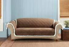 Faux Suede & Sherpa Sofa Furniture Cover pet protector cocoa Brown Cream