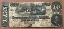 1864 $10 Confederate States America! Type 68! 1st Series! Plen H! Rough!