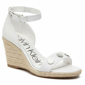 Calvin Klein Womens White Wedges Brette Nappa Leather UK Size 6