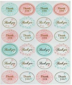 THANK YOU Oval Stickers Labels Kraft Gift Food Craft Baby Shower Wedding Craft
